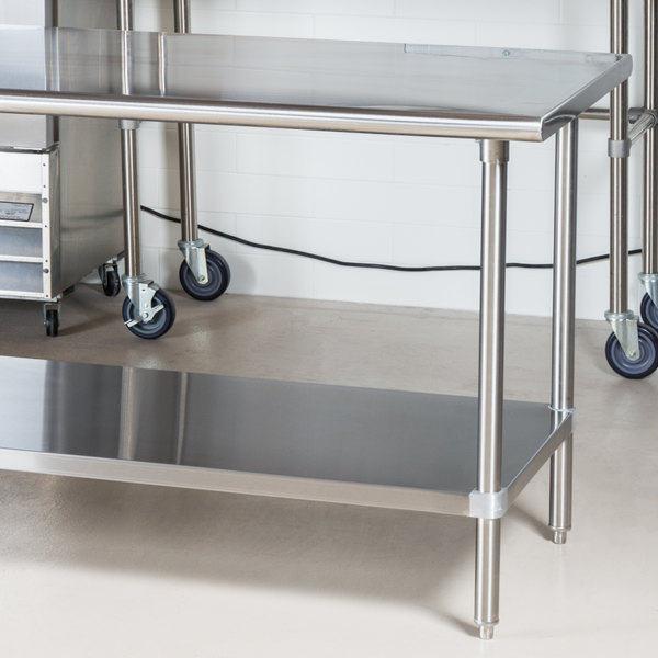 "Advance Tabco MS-304 30"" x 48"" 16 Gauge Stainless Steel Commercial Work Table with Stainless Steel Undershelf Main Image 2"