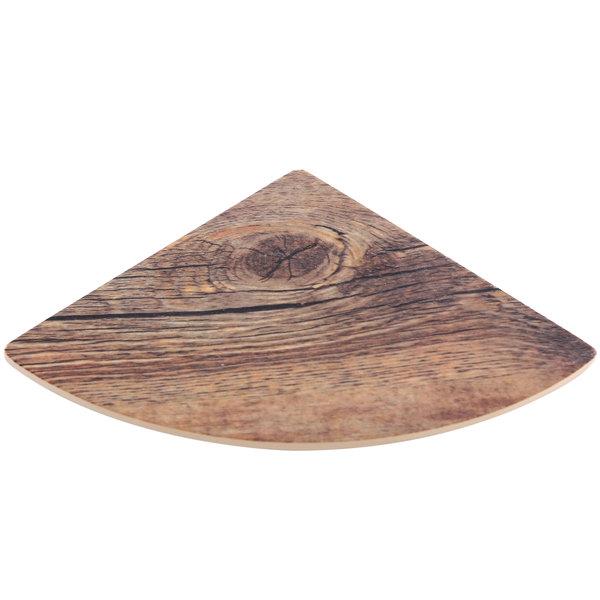 "Elite Global Solutions M57QR Fo Bwa Quarter Circle Faux Driftwood Melamine Riser Shelf - 7"" x 5"""