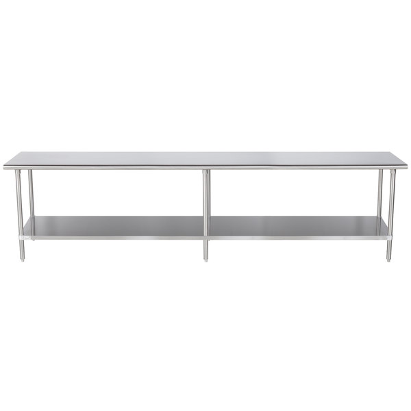 "Advance Tabco MS-3012 30"" x 144"" 16 Gauge Stainless Steel Commercial Work Table with Stainless Steel Undershelf"