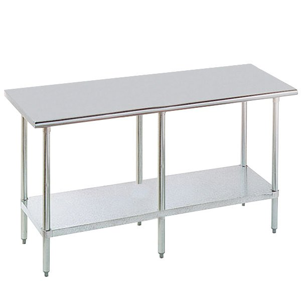 """Advance Tabco MG-308 30"""" x 96"""" 16 Gauge Stainless Steel Commercial Work Table with Galvanized Steel Undershelf"""