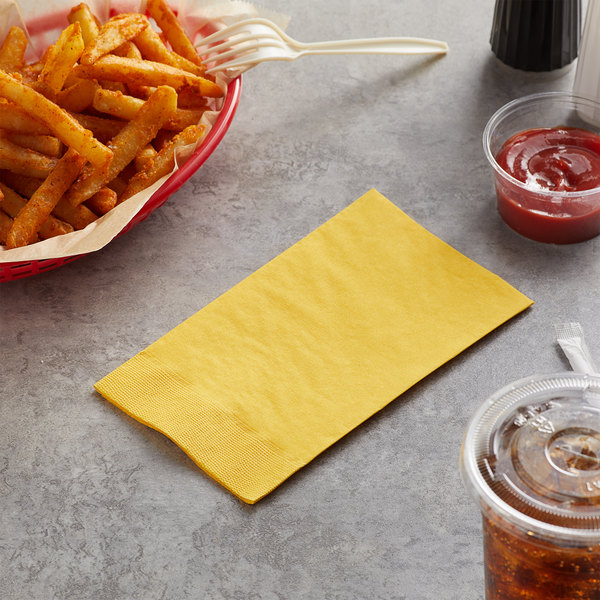 "Choice 15"" x 17"" Customizable Sunny Yellow 2-Ply Paper Dinner Napkin - 1000/Case"
