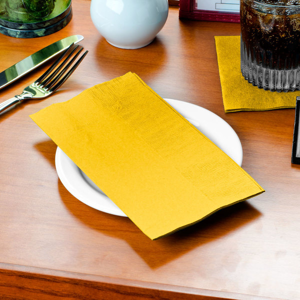 "Sunny Yellow Paper Dinner Napkin, Choice 2-Ply Customizable, 15"" x 17"" - 1000/Case"