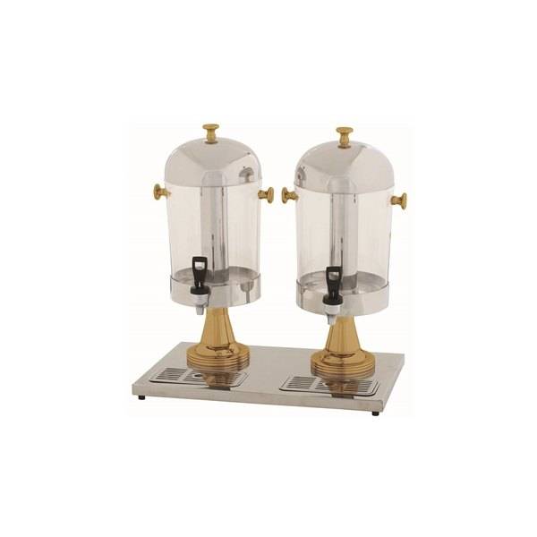 4.2 Gallon Double Stainless Steel Juice Dispenser with Gold Accents