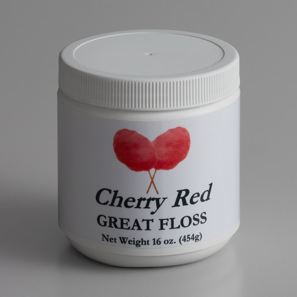 Great Western Great Floss 1 lb. Container Red Cherry Cotton Candy Concentrate Sugar - 12/Case Main Image 1