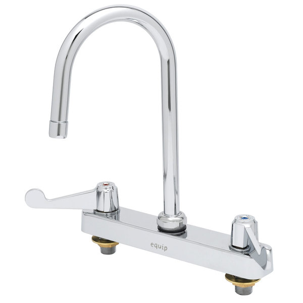 """Equip by T&S 5F-8CWX05 Deck Mount Faucet with 8"""" Centers, 5 1/2"""" Swing Gooseneck, and 4"""" Wrist Action Handles"""