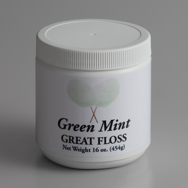 Great Western Great Floss 1 lb. Container Mint Green Cotton Candy Concentrate Sugar - 12/Case Main Image 1