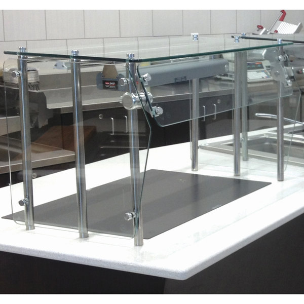 "Advance Tabco Sleek Shield GSG-12-144 Single Tier Self Service Food Shield with Glass Top - 12"" x 144"" x 18"""