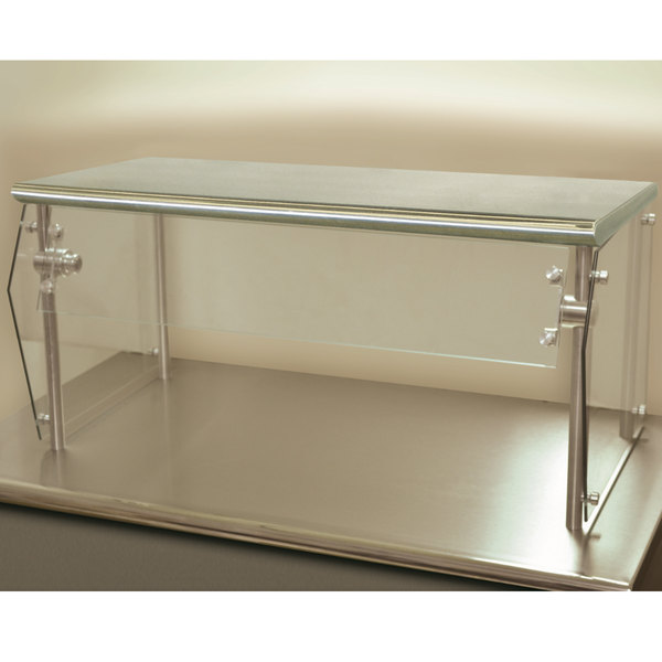 "Advance Tabco Sleek Shield NSG-12-132 Single Tier Self Service Food Shield with Stainless Steel Shelf - 12"" x 132"" x 18"""