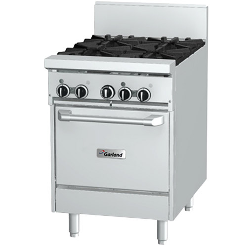 "Garland GFE24-4L Liquid Propane 4 Burner 24"" Range with Flame Failure Protection, Electric Spark Ignition, and Space Saver Oven - 240V, 136,000 BTU"