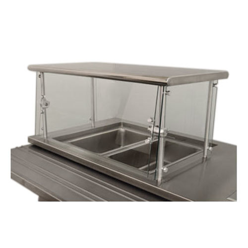 "Advance Tabco Sleek Shield NSGC-12-132 Cafeteria Food Shield with Stainless Steel Shelf - 12"" x 132"" x 18"""