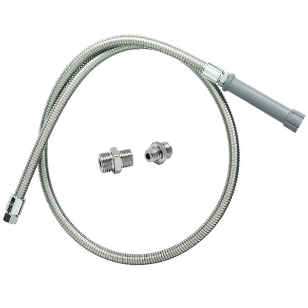 """T&S B-0044-H5 Hose Assembly with 44"""" Stainless Steel Flex Hose and Adapters"""