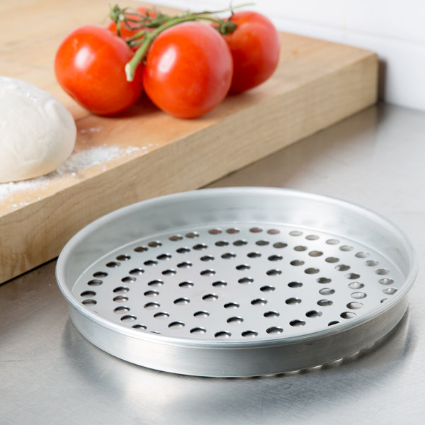 "American Metalcraft SPT4011 11"" x 1"" Super Perforated Tin-Plated Steel Straight Sided Pizza Pan Main Image 2"