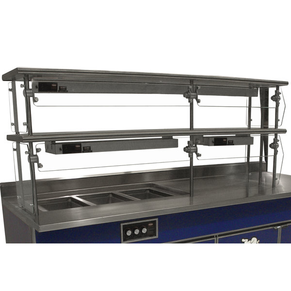 "Advance Tabco Sleek Shield NDSG-12-144 Double Tier Self Service Food Shield with Stainless Steel Shelf - 12"" x 144"" x 26"""