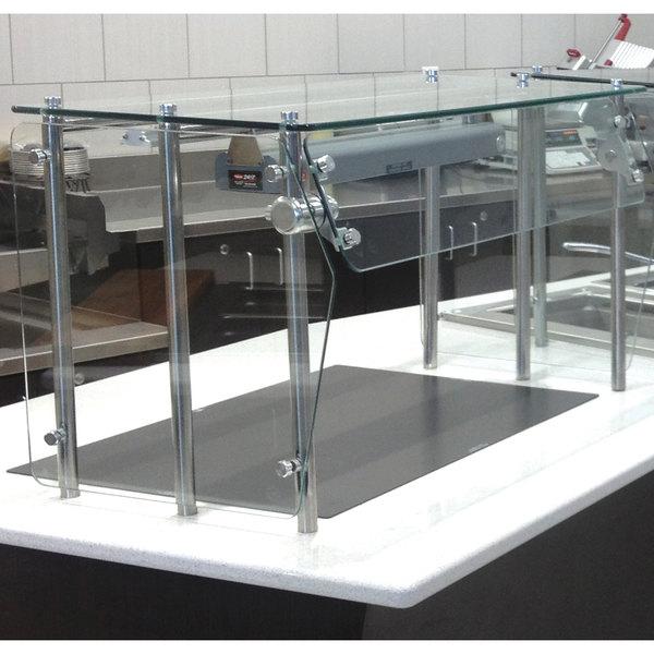 "Advance Tabco Sleek Shield GSG-12-96 Single Tier Self Service Food Shield with Glass Top - 12"" x 96"" x 18"""
