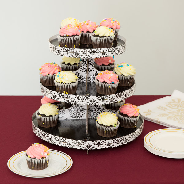 Wilton 1512-0703 3-Tier Damask Disposable Cupcake Treat Stand