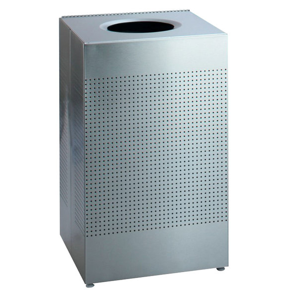 Rubbermaid FGSC22ERBSM Silhouettes Silver Metallic Steel Designer Waste Receptacle - 50 Gallon