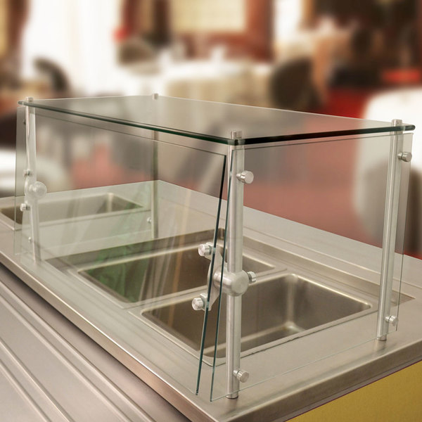 "Advance Tabco Sleek Shield GSGC-12-132 Cafeteria Food Shield with Glass Top - 12"" x 132"" x 18"""