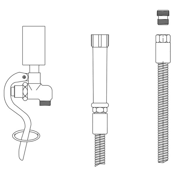 """T&S B-0107-C-72H 84"""" Hose with B-0107-C Spray Valve and Adapter"""