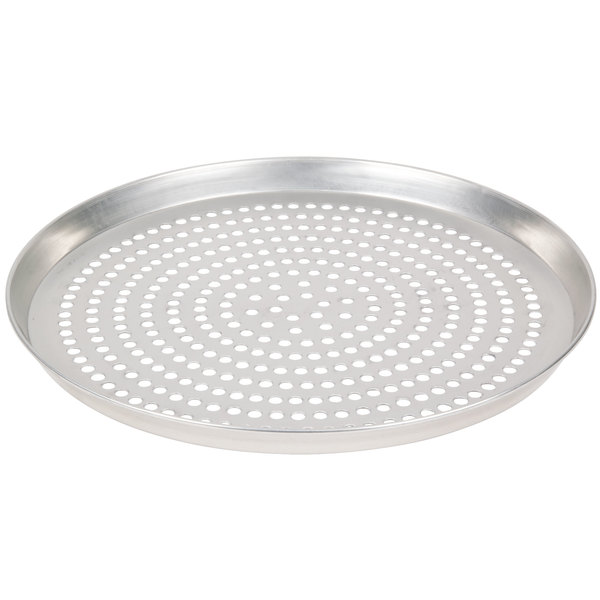 "American Metalcraft SPTDEP14 14"" x 1"" Super Perforated Tin-Plated Steel Tapered / Nesting Deep Dish Pizza Pan"