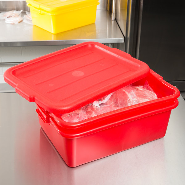"Vollrath 1507-C02 20"" x 15"" x 7"" Red Polypropylene Food Storage Combo Set with Standard Lid"