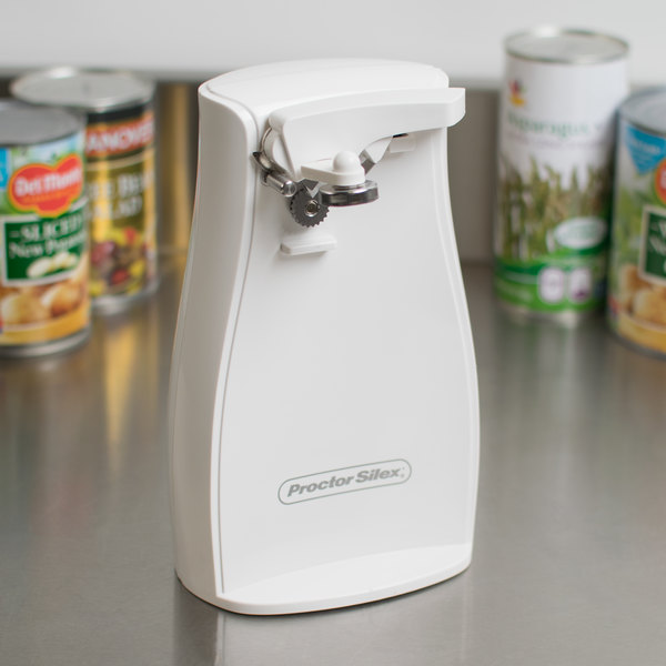 Proctor Silex 75224F White Electric Can Opener with Knife Sharpener