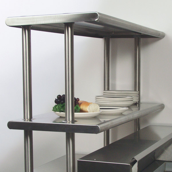 """Advance Tabco CDS-18-48 Stainless Steel Double Deck Overshelf - 48"""" x 18"""" x 30"""" Main Image 3"""