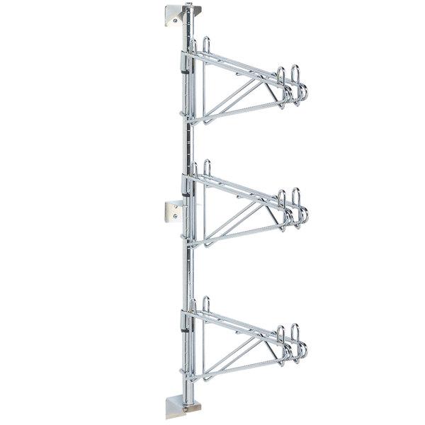 "Metro AW55C Super Erecta Chrome Triple Level Post-Type Wall Mount Mid Unit for 24"" Deep Shelf"