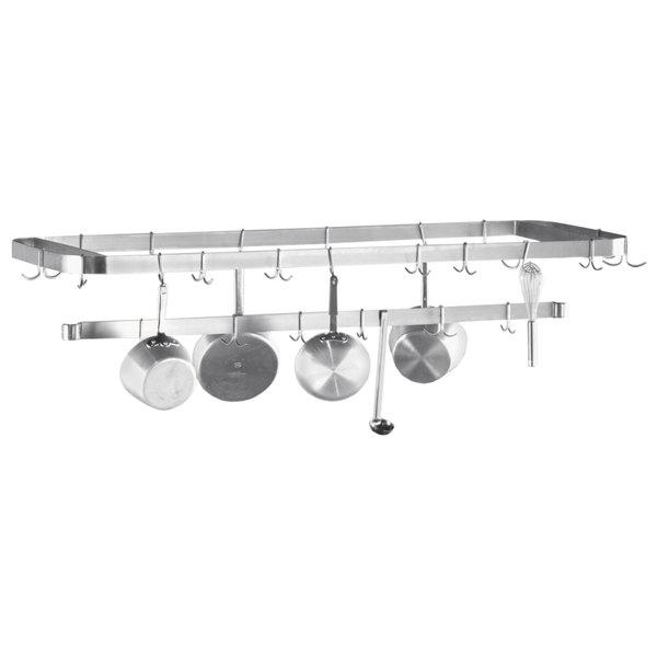 "Advance Tabco SCT-36 Smart Fabrication 36"" Middle Mount Stainless Steel Pot Rack / Utensil Rack"