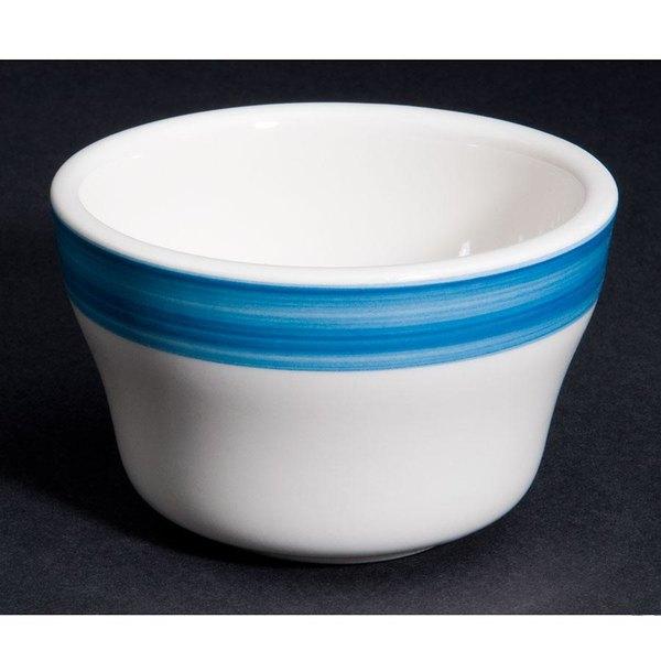 CAC R-4-BLU Rainbow 7.25 oz. Blue Rolled Edge Stoneware Bouillon Bowl - 36/Case Main Image 1