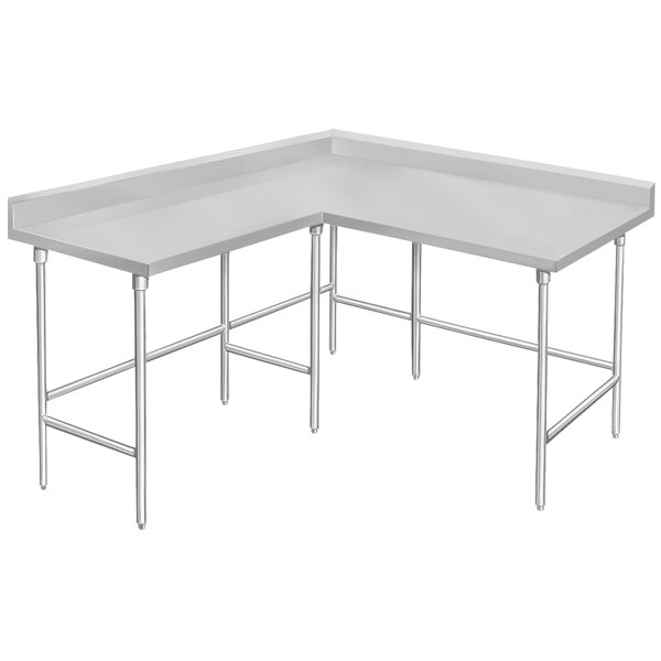 """Advance Tabco KTMS-246 24"""" x 72"""" 14 Gauge L-Shaped Corner SS Commercial Work Table"""