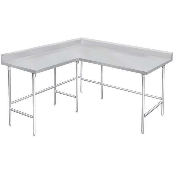 """Advance Tabco KTMS-307 30"""" x 84"""" 14 Gauge L-Shaped Corner SS Commercial Work Table"""