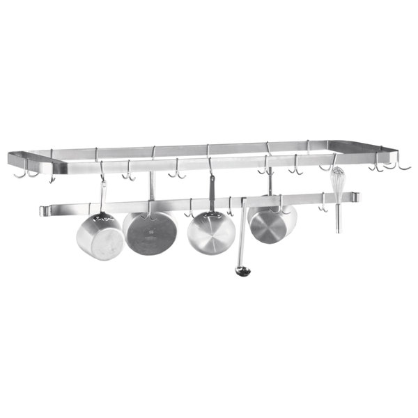 "Advance Tabco SCT-108 Smart Fabrication 108"" Middle Mount Stainless Steel Pot Rack / Utensil Rack"
