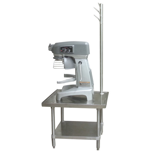 """Advance Tabco MX-GL-300 30"""" x 30"""" Stainless Steel Mixer Table with Utensil Rack and Galvanized Undershelf"""