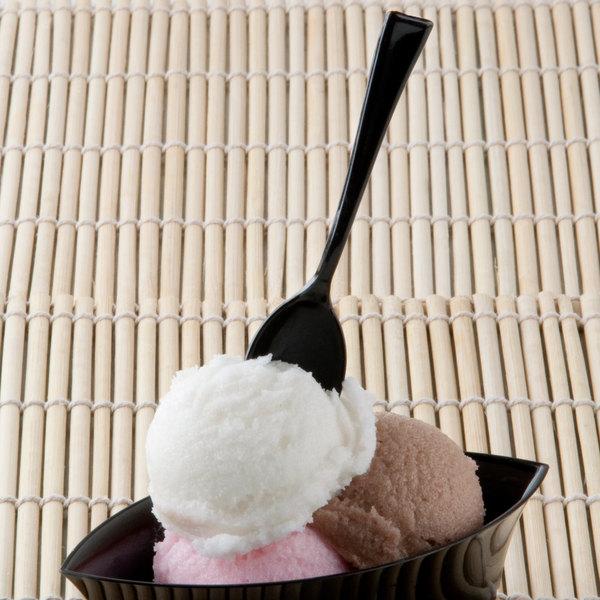"""Fineline Tiny Temptations 6501-BK 4"""" Tiny Tasters Black Plastic Tasting Spoon - 48/Pack"""