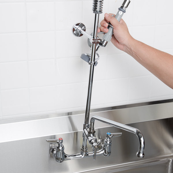 """T&S B-0133-ADF12-B EasyInstall Wall Mounted 37 1/2"""" High Pre-Rinse Faucet with Adjustable 8"""" Centers, 44"""" Hose, 12"""" Add-On Faucet, and 6"""" Wall Bracket"""