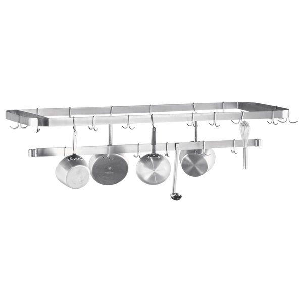 "Advance Tabco SWT-132 Smart Fabrication 132"" Rear or Splash Mount Stainless Steel Pot Rack / Utensil Rack"