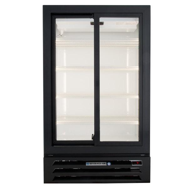 "Beverage-Air LV17HC-1-B 36"" Black Lumavue Refrigerated Sliding Glass Door Merchandiser"