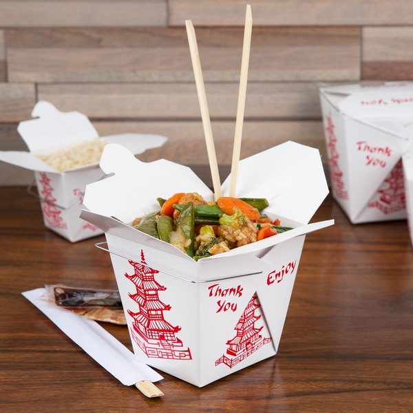 Fold-Pak 26WHPAGODM 26 oz. Pagoda Chinese / Asian Paper Take-Out Container with Wire Handle - 500/Case Main Image 4