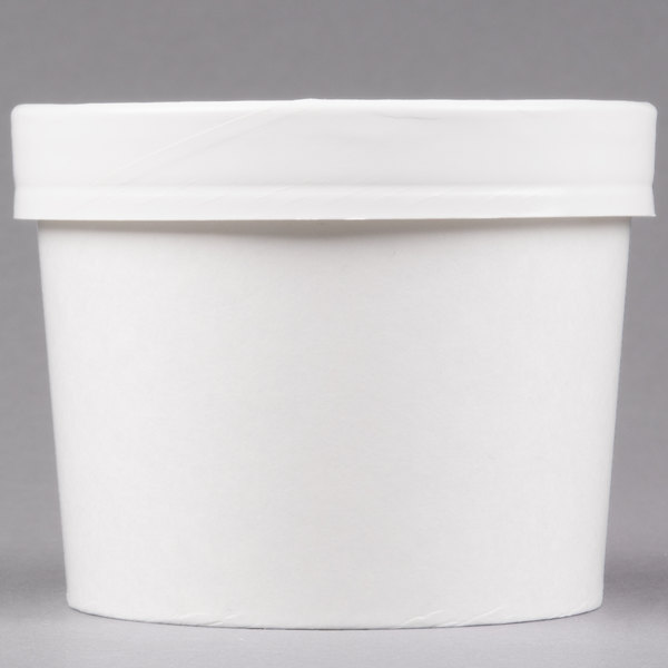 Huhtamaki Chinet 71843 White 12 oz. Double-Wall Poly Paper Soup / Hot Food Cup with Vented Paper Lid - 250/Case