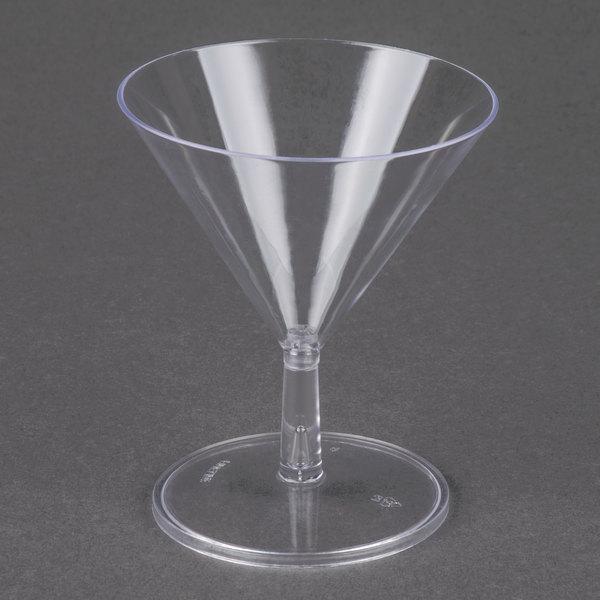 Fineline Tiny Temptations 6401-CL 2 oz. Tiny Tini 2-Piece Clear Plastic Glass - 12/Pack