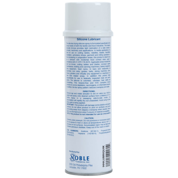 Noble Chemical Lubriquik 11 5 oz  Food Grade Aerosol Si-Dry Silicone  Lubricant (AMR A329) - 12/Case