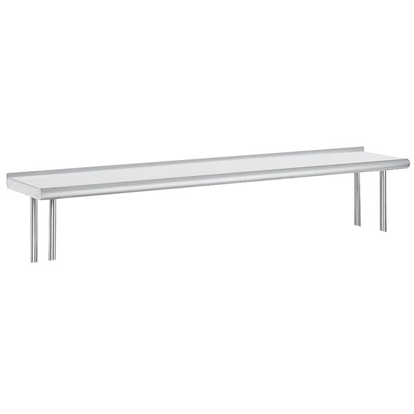 "Advance Tabco OTS-12-48R 12"" x 48"" Table Rear Mounted Single Deck Stainless Steel Shelving Unit with 1"" Rear Turn-Up Main Image 1"