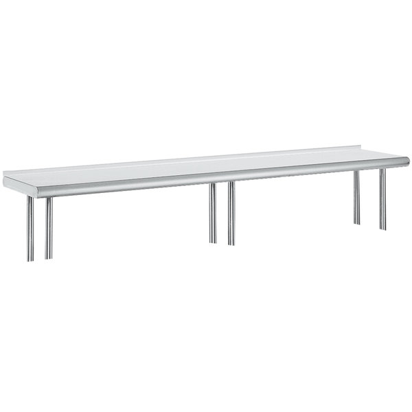 """Advance Tabco OTS-12-144R 12"""" x 144"""" Table Rear Mounted Single Deck Stainless Steel Shelving Unit with 1"""" Rear Turn-Up Main Image 1"""