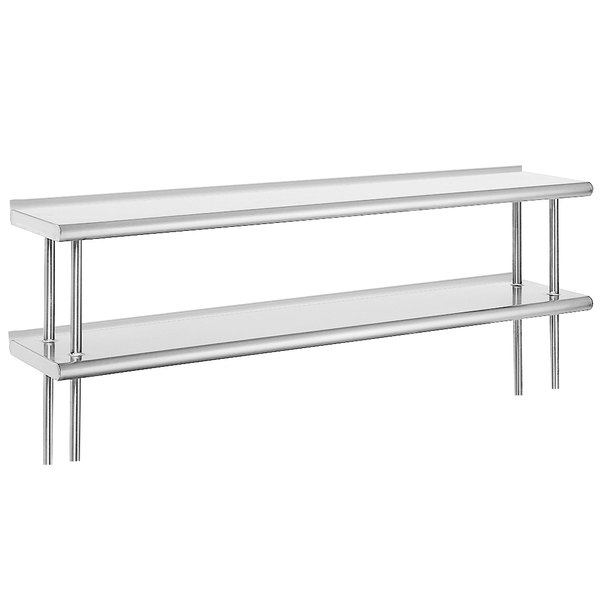 """Advance Tabco ODS-12-60R 12"""" x 60"""" Table Rear Mounted Double Deck Stainless Steel Shelving Unit with 1"""" Rear Turn-Up"""