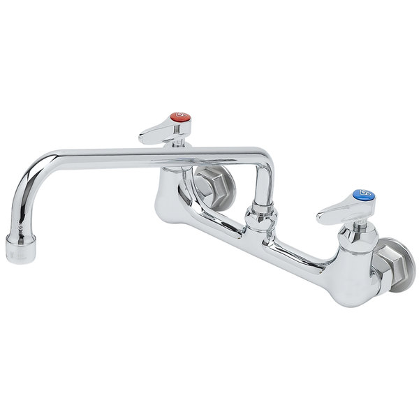 """T&S B-0231-CR-SC Wall Mounted Pantry Faucet with 8"""" Adjustable Centers, 12"""" Swing Nozzle, Cerama Cartridges, and Check Valves Main Image 1"""