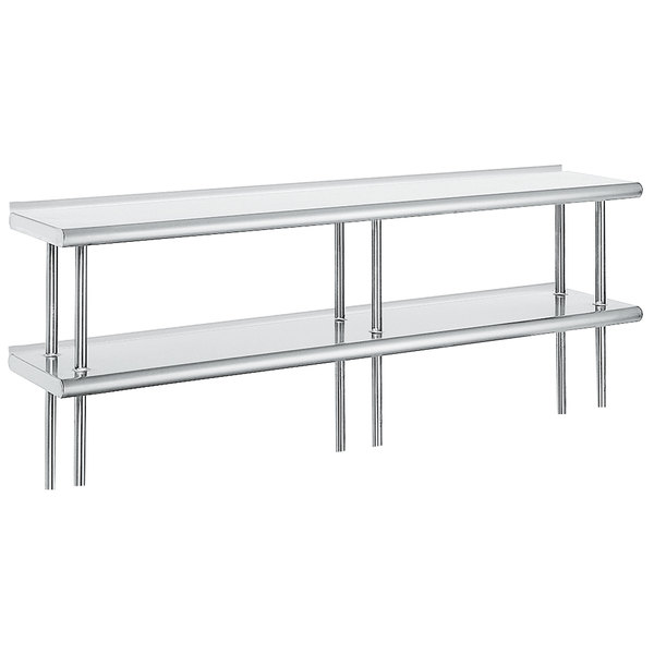 """Advance Tabco ODS-15-144R 15"""" x 144"""" Table Rear Mounted Double Deck Stainless Steel Shelving Unit with 1"""" Rear Turn-Up"""