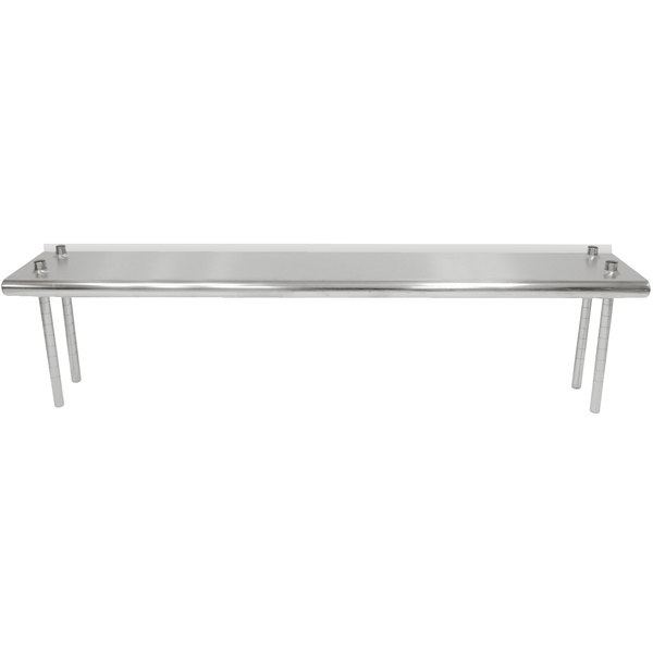 """Advance Tabco TS-12-72R 12"""" x 72"""" Table Rear Mounted Single Deck Stainless Steel Shelving Unit - Adjustable with 1"""" Rear Turn-Up Main Image 1"""