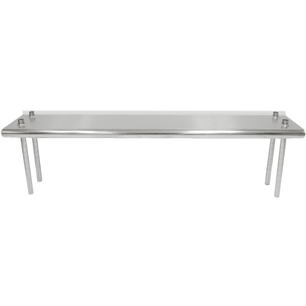 """Advance Tabco TS-12-60R 12"""" x 60"""" Table Rear Mounted Single Deck Stainless Steel Shelving Unit - Adjustable with 1"""" Rear Turn-Up Main Image 1"""