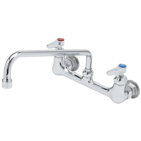 T&S B-0231-CR Wall Mounted Pantry Faucet with 8 inch Adjustable Centers, 12 inch Swing Nozzle, and Cerama Cartridges