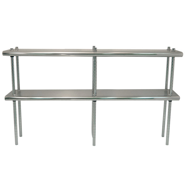 """Advance Tabco DS-12-144R 12"""" x 144"""" Table Rear Mounted Double Deck Stainless Steel Shelving Unit - Adjustable with 1"""" Rear Turn-Up Main Image 1"""